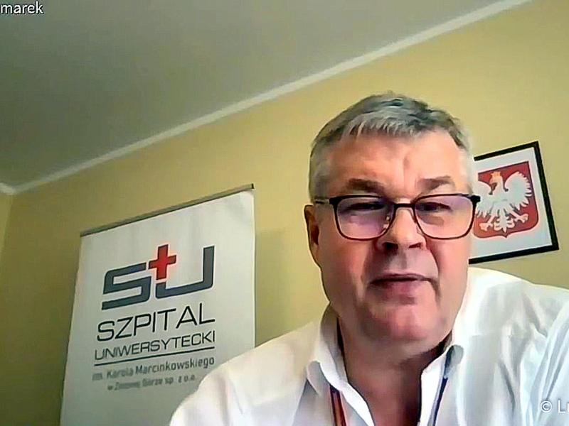 Konferencja prasowa nt. rozliczenia szpitali z NFZ oraz stanu epidemicznego w lubuskich lecznicach. Na zdjęciu prezes Szpitala Uniwersyteckiego w Zielonej Górze, Marek Działoszyński.