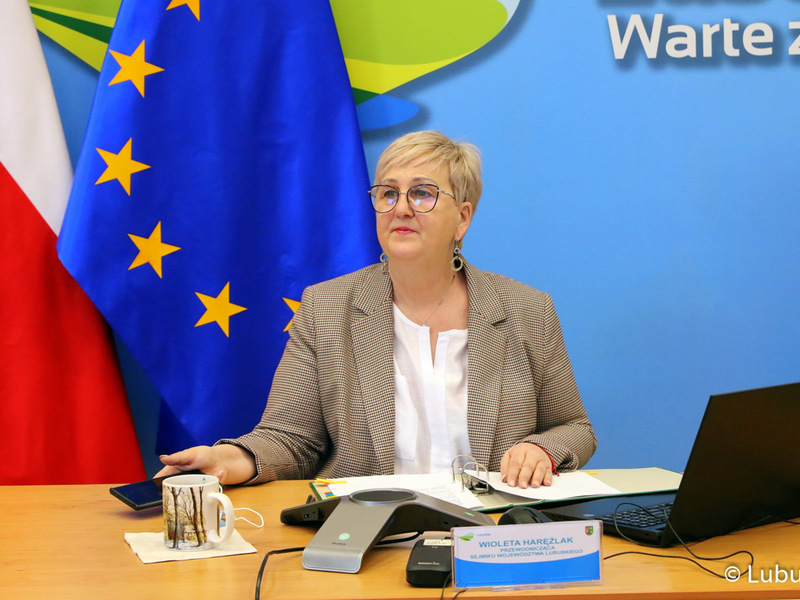 Sesja Sejmiku Województwa Lubuskiego - 12 kwietnia 2021 r. Na zdjęciu przewodnicząca Wioleta Haręźlak.