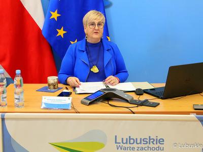 XXXI Zwyczajna Sesja Sejmiku Województwa Lubuskiego w trybie online. Na zdjęciu przewodnicząca Sejmiku Wioleta Haręźlak.