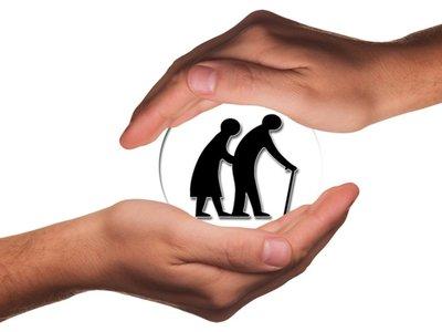 Grafika przedstawiająca parę seniorów.