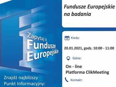 """Plakat, który promuje webinar pt. """"Fundusze Europejskie na badania"""". Webinar realizuje 20 stycznia 2021 r. Lokalny Punkt Informacyjny Funduszy Europejskich w Gorzowie Wielkopolskim."""