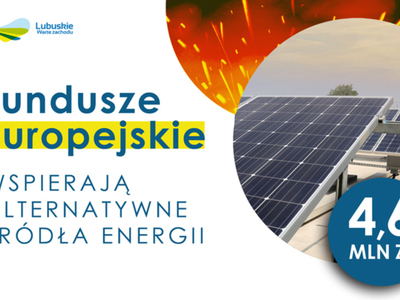 """Grafika z panelami fotowoltaicznymi oraz napisem: """"Fundusze Europejskie"""" wspierają alternatywne źródła energii."""