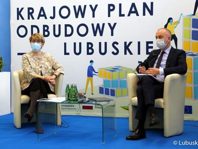 W konferencji udział wzięli m.in. Marszałek Województwa Lubuskiego Elżbieta Anna Polak oraz Członek Zarządu Województwa Lubuskiego Marcin Jabłoński.