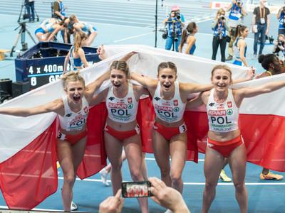 Nasza sztafeta 4x400 m w składzie: Kornelia Lesiewicz, Natalia Kaczmarek, Małgorzata Hołub-Kowalik oraz Aleksandra Gaworska wywalczyła dla Polski brązowy medal halowych mistrzostw Europy.  fot. PZLA