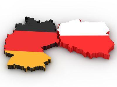 Mapa Polski i Niemiec.