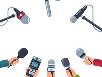 Grafika z dłońmi trzymającymi mikrofony i dyktafony.